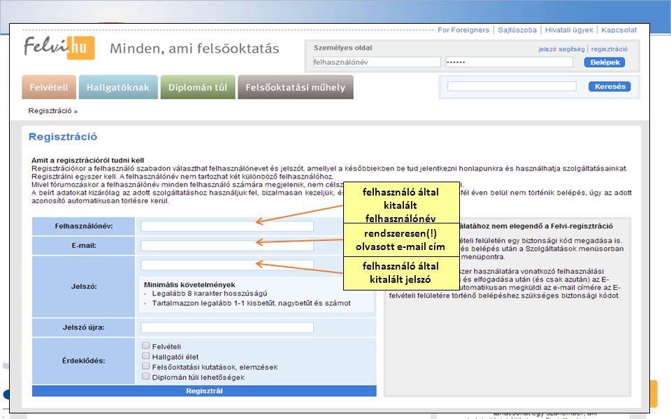 felhasználó által kitalált felhasználónév rendszeresen(!) olvasott e-mail cím felhasználó által kitalált jelszó