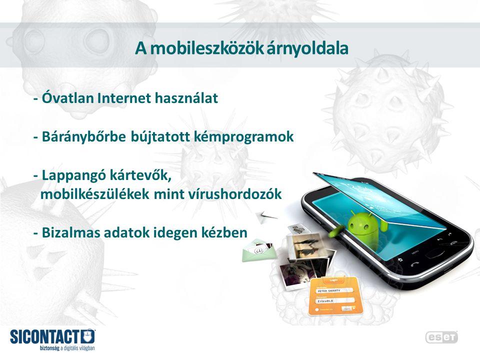 Mobil fenyegetések előfordulása -2011 slágerei: trójai fertőzés emelt díjas SMS-sel, Botnet férgek, kémprogramok -2012 júliusában már több mint 2000 Androidos kártékony alkalmazás létezett -Google Play-en 60-at talált a Bouncer ellenőrző program E-mailChat USB eszközök Közösségi oldalak Fertőző weboldalak