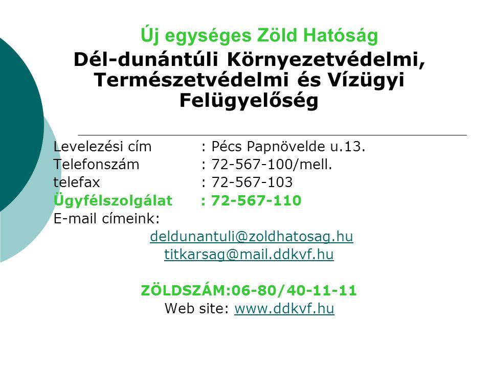 Új egységes Zöld Hatóság Dél-dunántúli Környezetvédelmi, Természetvédelmi és Vízügyi Felügyelőség Levelezési cím: Pécs Papnövelde u.13.