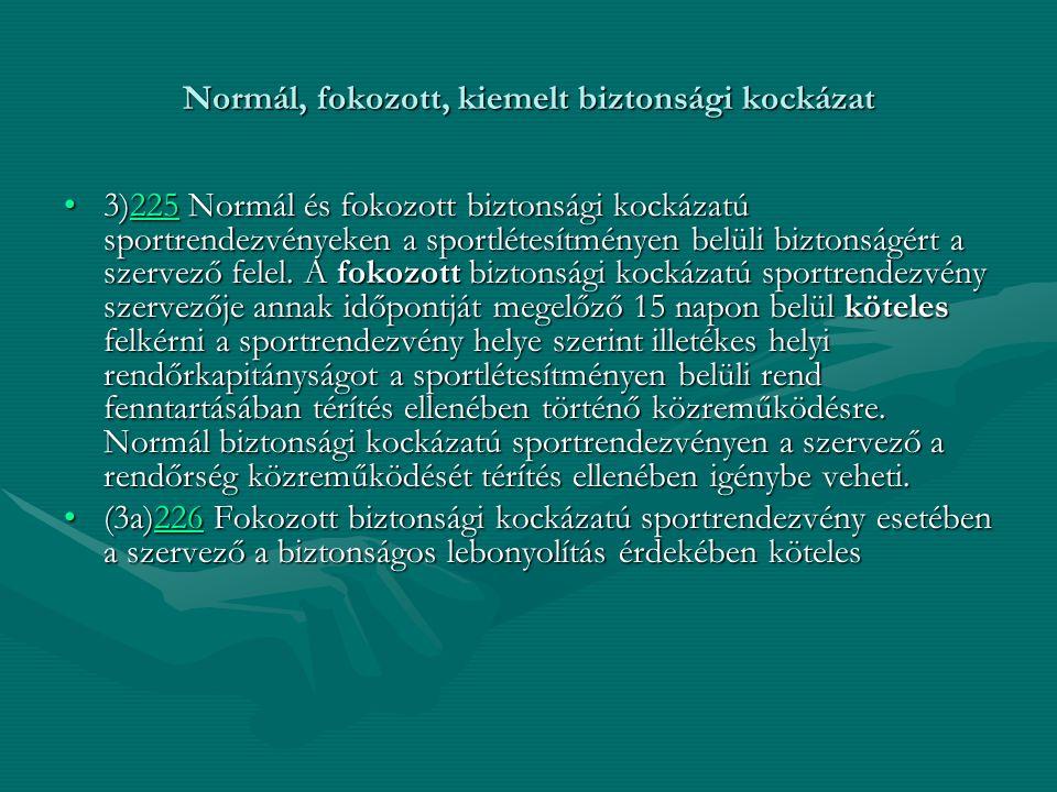 Normál, fokozott, kiemelt biztonsági kockázat 3)225 Normál és fokozott biztonsági kockázatú sportrendezvényeken a sportlétesítményen belüli biztonságé