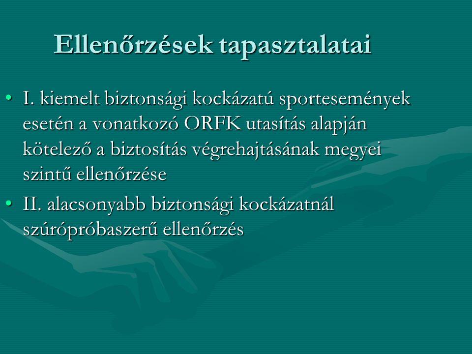 Ellenőrzések tapasztalatai I. kiemelt biztonsági kockázatú sportesemények esetén a vonatkozó ORFK utasítás alapján kötelező a biztosítás végrehajtásán