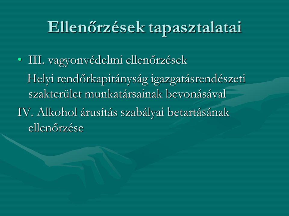 Ellenőrzések tapasztalatai III. vagyonvédelmi ellenőrzésekIII. vagyonvédelmi ellenőrzések Helyi rendőrkapitányság igazgatásrendészeti szakterület munk