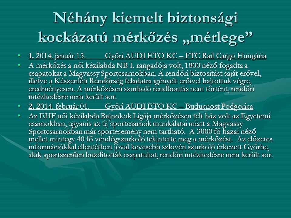 """Néhány kiemelt biztonsági kockázatú mérkőzés """"mérlege"""" 1. 2014. január 15. Győri AUDI ETO KC – FTC Rail Cargo Hungária1. 2014. január 15. Győri AUDI E"""