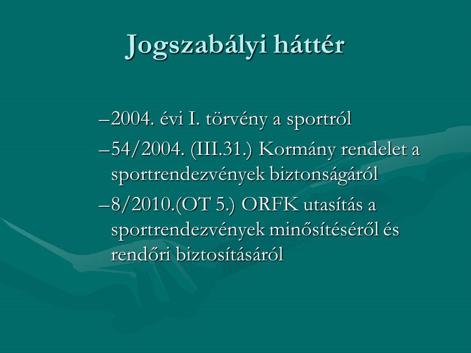 Jogszabályi háttér –2004. évi I. törvény a sportról –54/2004. (III.31.) Kormány rendelet a sportrendezvények biztonságáról –8/2010.(OT 5.) ORFK utasít
