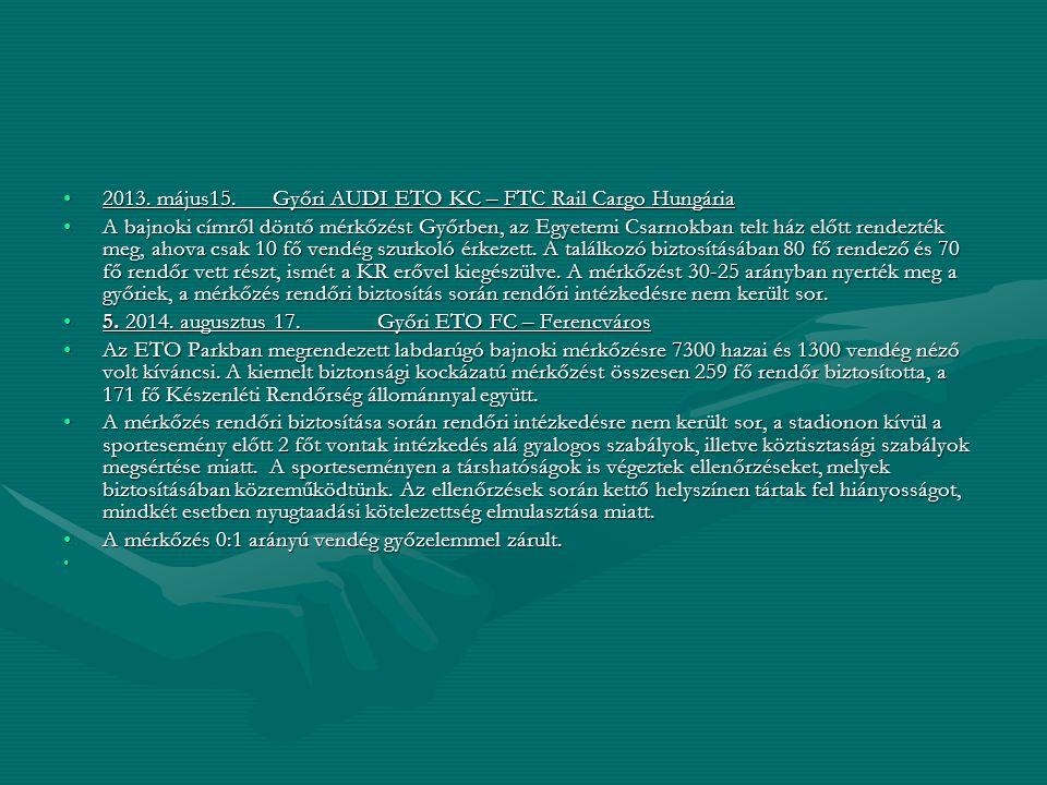 2013. május15. Győri AUDI ETO KC – FTC Rail Cargo Hungária2013. május15. Győri AUDI ETO KC – FTC Rail Cargo Hungária A bajnoki címről döntő mérkőzést