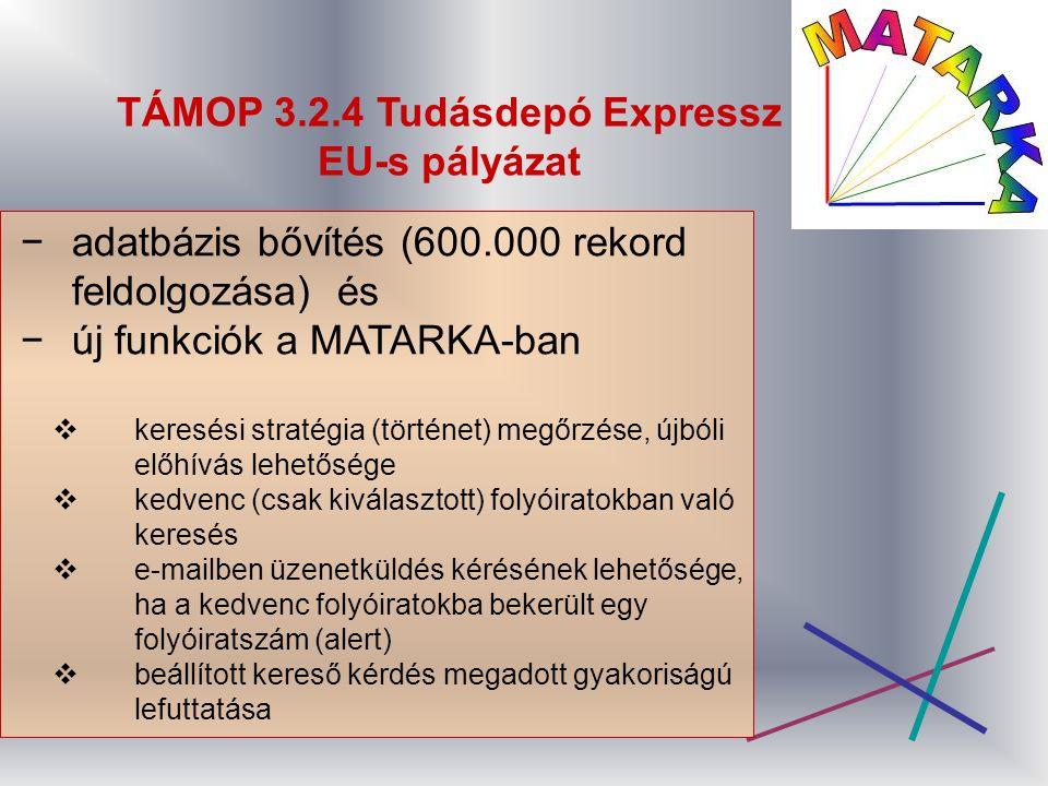 TÁMOP 3.2.4 Tudásdepó Expressz EU-s pályázat −adatbázis bővítés (600.000 rekord feldolgozása) és −új funkciók a MATARKA-ban  keresési stratégia (történet) megőrzése, újbóli előhívás lehetősége  kedvenc (csak kiválasztott) folyóiratokban való keresés  e-mailben üzenetküldés kérésének lehetősége, ha a kedvenc folyóiratokba bekerült egy folyóiratszám (alert)  beállított kereső kérdés megadott gyakoriságú lefuttatása