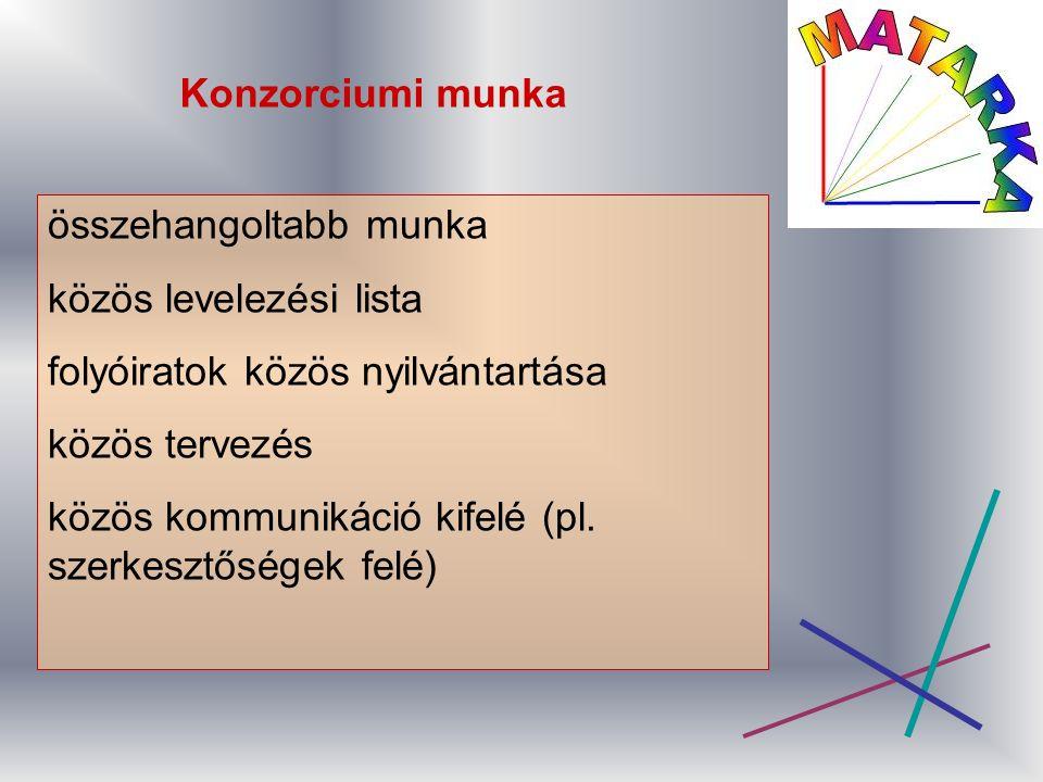 Konzorciumi munka összehangoltabb munka közös levelezési lista folyóiratok közös nyilvántartása közös tervezés közös kommunikáció kifelé (pl.