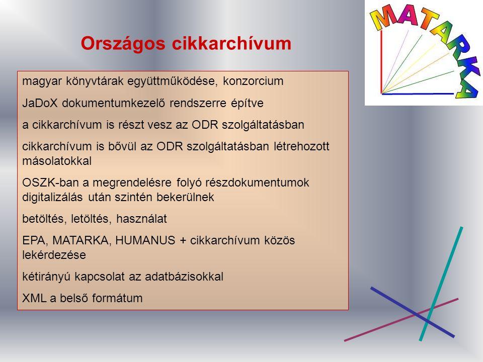 Országos cikkarchívum magyar könyvtárak együttműködése, konzorcium JaDoX dokumentumkezelő rendszerre építve a cikkarchívum is részt vesz az ODR szolgáltatásban cikkarchívum is bővül az ODR szolgáltatásban létrehozott másolatokkal OSZK-ban a megrendelésre folyó részdokumentumok digitalizálás után szintén bekerülnek betöltés, letöltés, használat EPA, MATARKA, HUMANUS + cikkarchívum közös lekérdezése kétirányú kapcsolat az adatbázisokkal XML a belső formátum