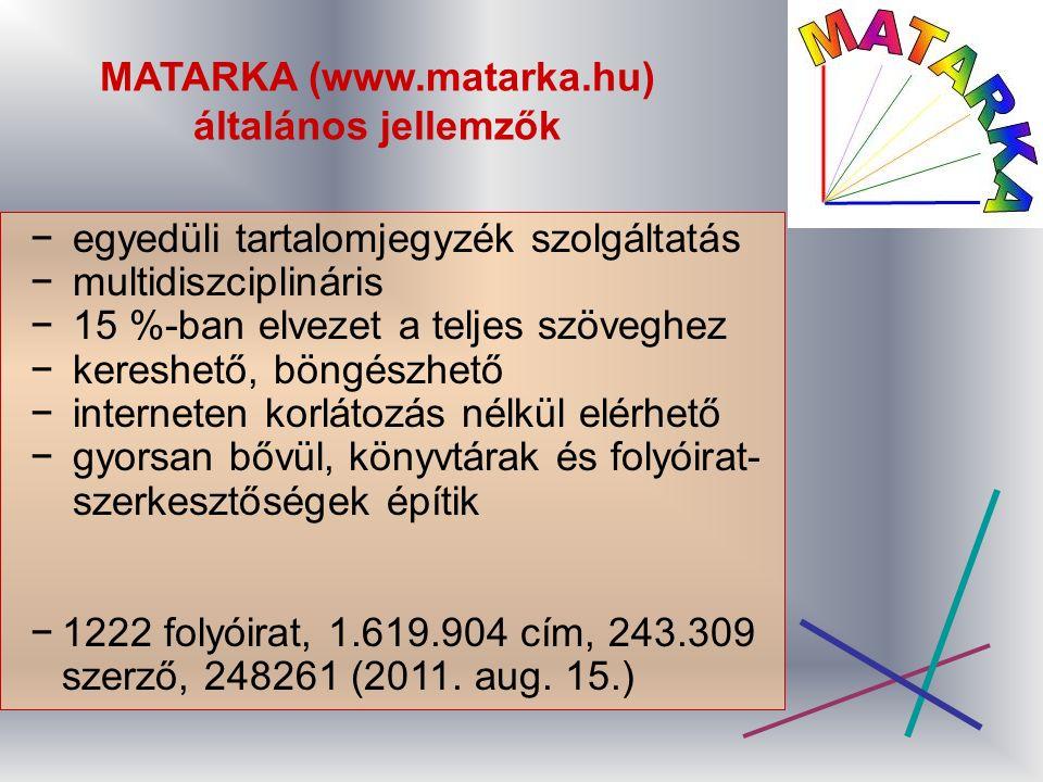 MATARKA (www.matarka.hu) általános jellemzők − egyedüli tartalomjegyzék szolgáltatás − multidiszciplináris − 15 %-ban elvezet a teljes szöveghez − kereshető, böngészhető − interneten korlátozás nélkül elérhető − gyorsan bővül, könyvtárak és folyóirat- szerkesztőségek építik −1222 folyóirat, 1.619.904 cím, 243.309 szerző, 248261 (2011.
