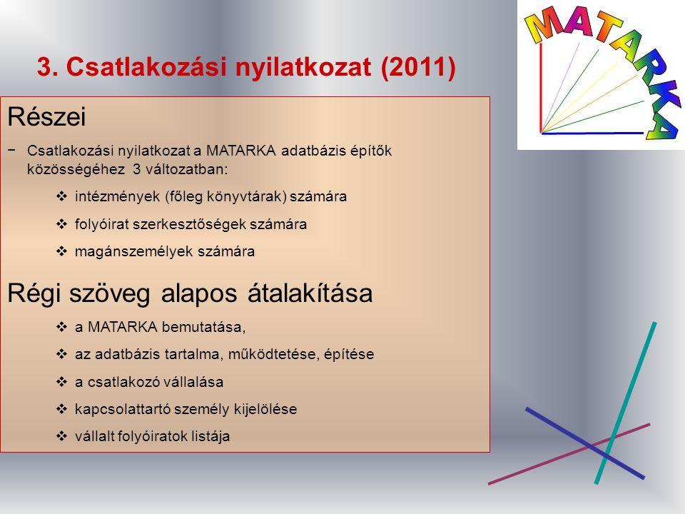3. Csatlakozási nyilatkozat (2011) Részei −Csatlakozási nyilatkozat a MATARKA adatbázis építők közösségéhez 3 változatban:  intézmények (főleg könyvt