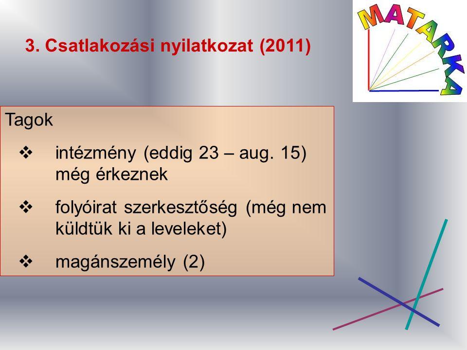 3. Csatlakozási nyilatkozat (2011) Tagok  intézmény (eddig 23 – aug.