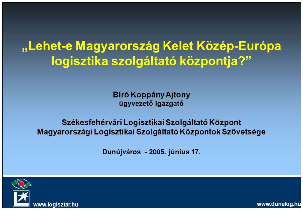 """""""Lehet-e Magyarország Kelet Közép-Európa logisztika szolgáltató központja? Bíró Koppány Ajtony ügyvezető igazgató Székesfehérvári Logisztikai Szolgáltató Központ Magyarországi Logisztikai Szolgáltató Központok Szövetsége Dunújváros - 2005."""