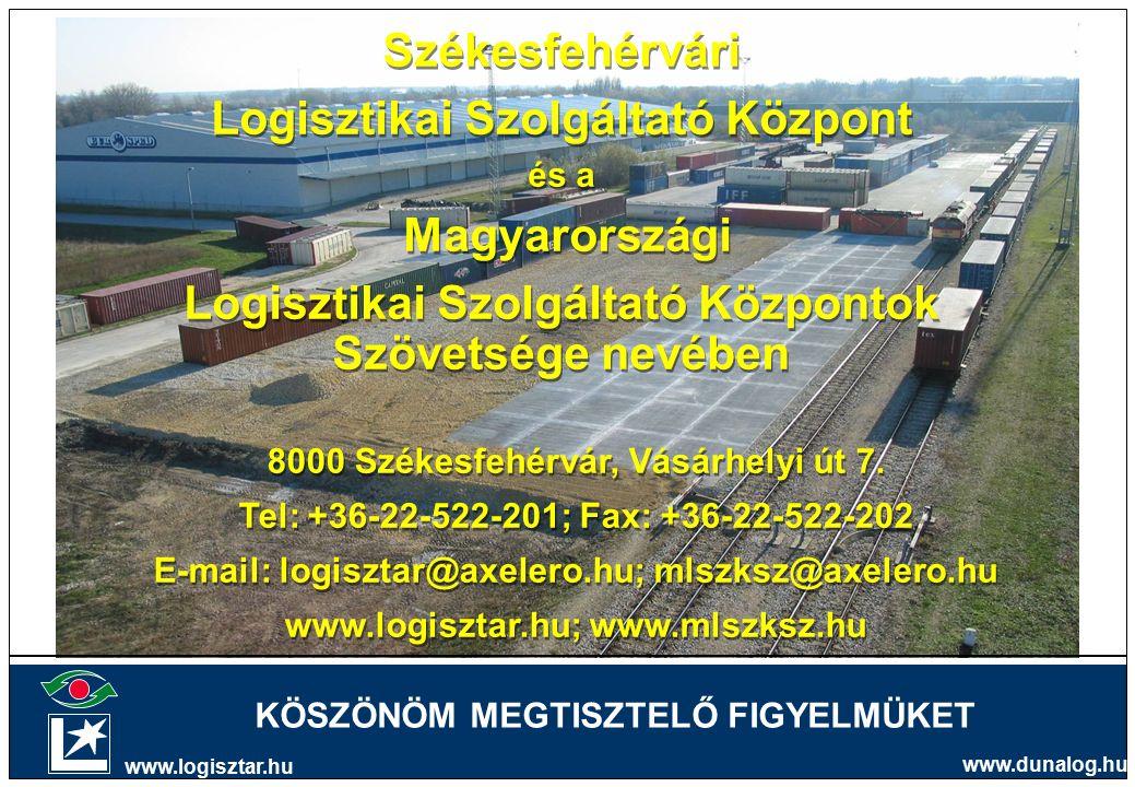Székesfehérvári Logisztikai Szolgáltató Központ és a Magyarországi Logisztikai Szolgáltató Központok Szövetsége nevében Székesfehérvári Logisztikai Szolgáltató Központ és a Magyarországi Logisztikai Szolgáltató Központok Szövetsége nevében 8000 Székesfehérvár, Vásárhelyi út 7.