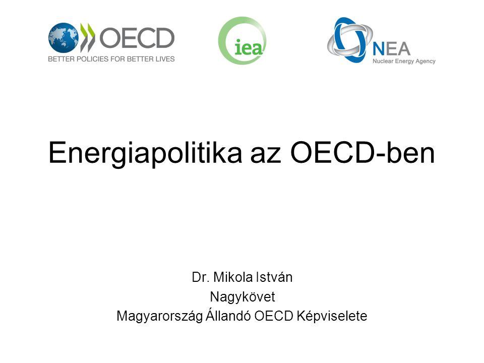 Az OECD energiapolitikai testületei OECD Nemzetközi Energia Ügynökség (IEA) Nukleáris Energia Ügynökség (NEA) OECD bizottságok melyek ad-hoc jelleggel foglalkoznak energetikai témákkal (pl.
