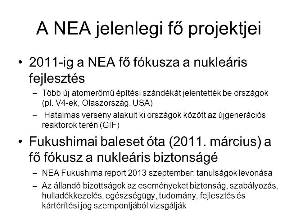 A NEA jelenlegi fő projektjei 2011-ig a NEA fő fókusza a nukleáris fejlesztés –Több új atomerőmű építési szándékát jelentették be országok (pl. V4-ek,