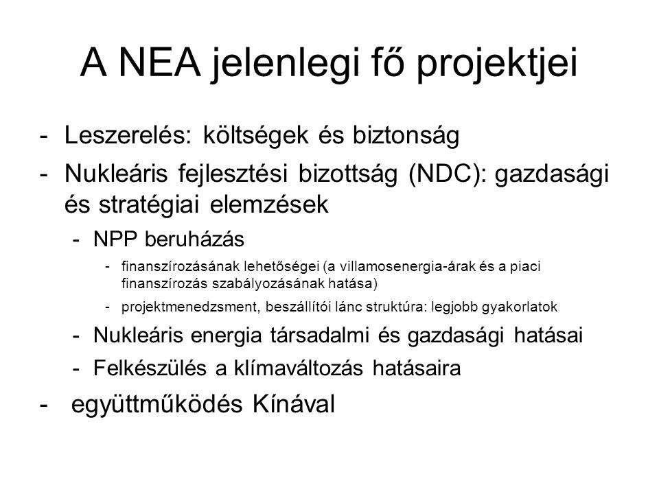 A NEA jelenlegi fő projektjei -Leszerelés: költségek és biztonság -Nukleáris fejlesztési bizottság (NDC): gazdasági és stratégiai elemzések -NPP beruh