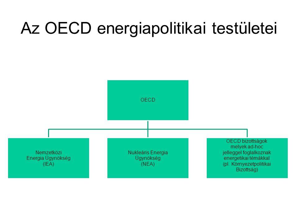Az OECD energiapolitikai testületei OECD Nemzetközi Energia Ügynökség (IEA) Nukleáris Energia Ügynökség (NEA) OECD bizottságok melyek ad-hoc jelleggel