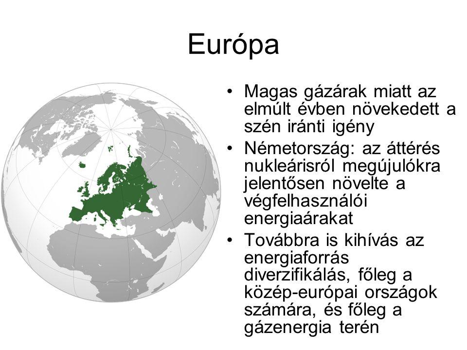 Európa Magas gázárak miatt az elmúlt évben növekedett a szén iránti igény Németország: az áttérés nukleárisról megújulókra jelentősen növelte a végfel