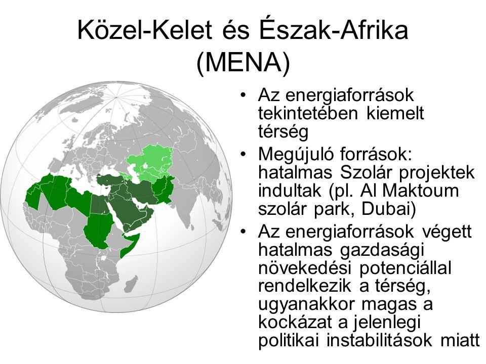 Közel-Kelet és Észak-Afrika (MENA) Az energiaforrások tekintetében kiemelt térség Megújuló források: hatalmas Szolár projektek indultak (pl. Al Maktou