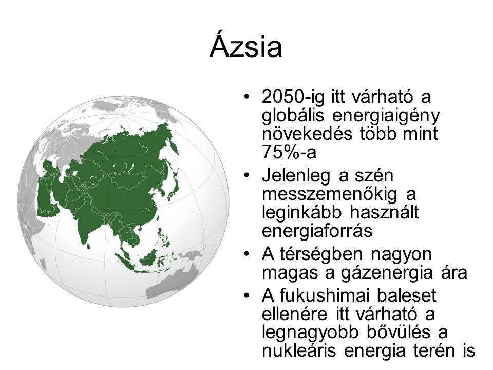 Ázsia 2050-ig itt várható a globális energiaigény növekedés több mint 75%-a Jelenleg a szén messzemenőkig a leginkább használt energiaforrás A térségb