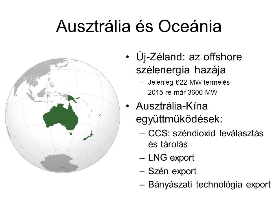 Ausztrália és Oceánia Új-Zéland: az offshore szélenergia hazája –Jelenleg 622 MW termelés –2015-re már 3600 MW Ausztrália-Kína együttműködések: –CCS: