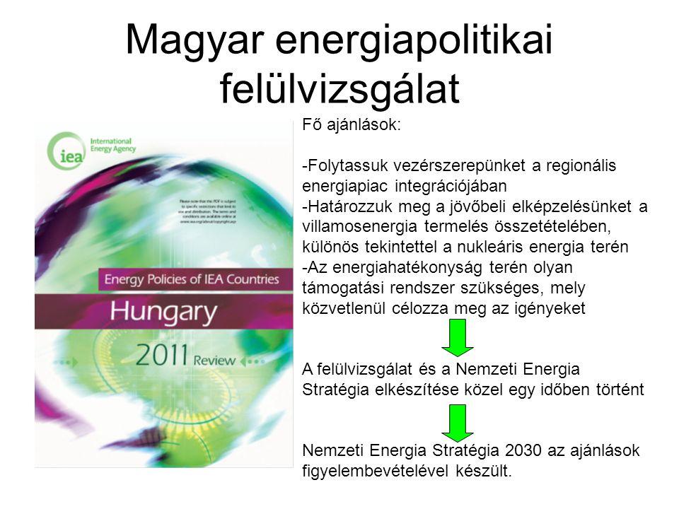 Magyar energiapolitikai felülvizsgálat Fő ajánlások: -Folytassuk vezérszerepünket a regionális energiapiac integrációjában -Határozzuk meg a jövőbeli