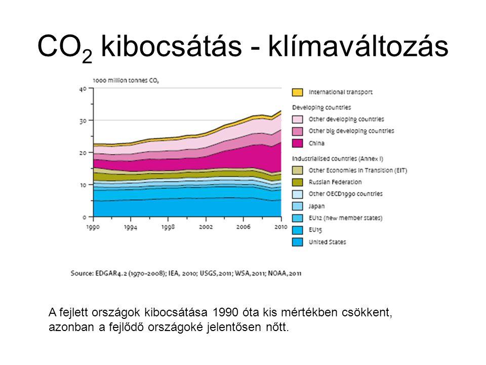 CO 2 kibocsátás - klímaváltozás A fejlett országok kibocsátása 1990 óta kis mértékben csökkent, azonban a fejlődő országoké jelentősen nőtt.