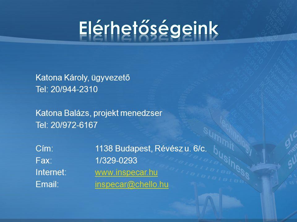 Katona Károly, ügyvezető Tel: 20/944-2310 Katona Balázs, projekt menedzser Tel: 20/972-6167 Cím:1138 Budapest, Révész u.
