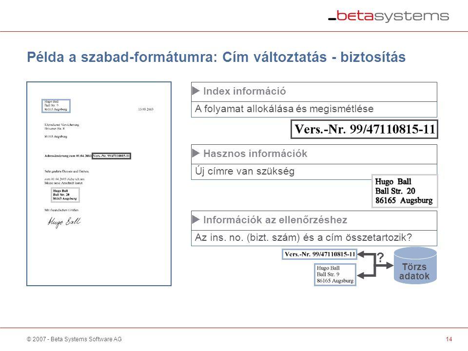 © 2007 - Beta Systems Software AG14 A folyamat allokálása és megismétlése  Index információ Példa a szabad-formátumra: Cím változtatás - biztosítás ‑  ‑  3 Törzs adatok .