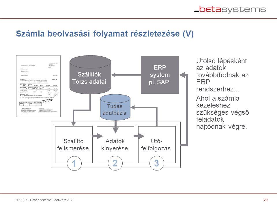 © 2007 - Beta Systems Software AG Szállító felismerése Adatok kinyerése Utó- felfolgozás Számla beolvasási folyamat részletezése (V) Szállítók Törzs adatai Utolsó lépésként az adatok továbbítódnak az ERP rendszerhez...