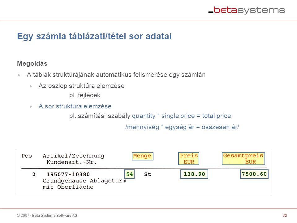 © 2007 - Beta Systems Software AG Egy számla táblázati/tétel sor adatai Megoldás  A táblák struktúrájának automatikus felismerése egy számlán  Az oszlop struktúra elemzése pl.