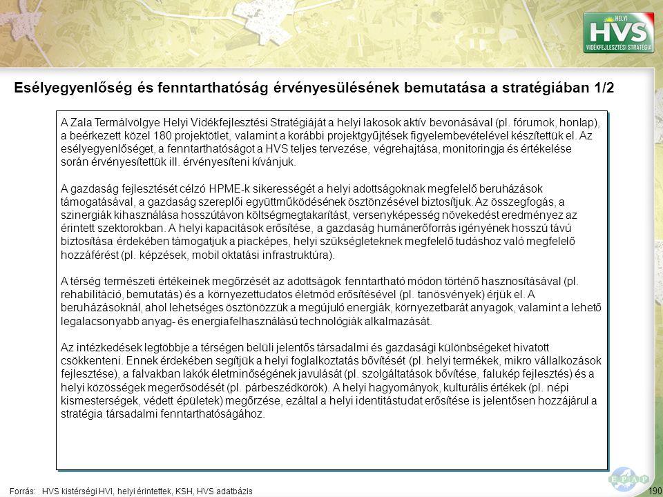 190 A Zala Termálvölgye Helyi Vidékfejlesztési Stratégiáját a helyi lakosok aktív bevonásával (pl. fórumok, honlap), a beérkezett közel 180 projektötl