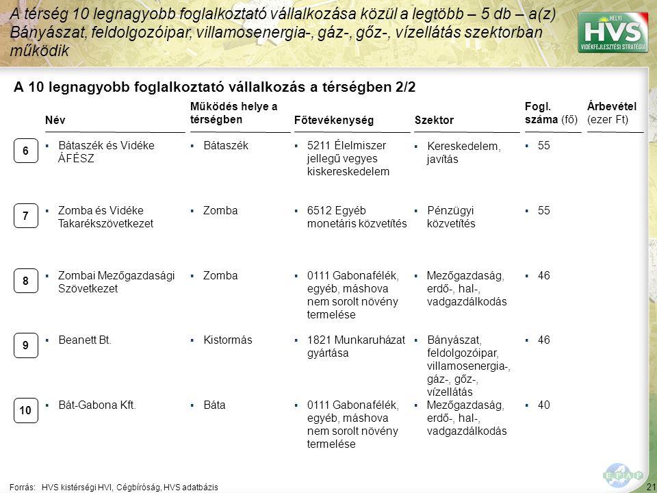 21 Forrás:HVS kistérségi HVI, Cégbíróság, HVS adatbázis A 10 legnagyobb foglalkoztató vállalkozás a térségben 2/2 Szektor Fogl. száma (fő) Árbevétel (