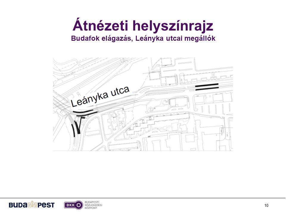 10 Átnézeti helyszínrajz Budafok elágazás, Leányka utcai megállók