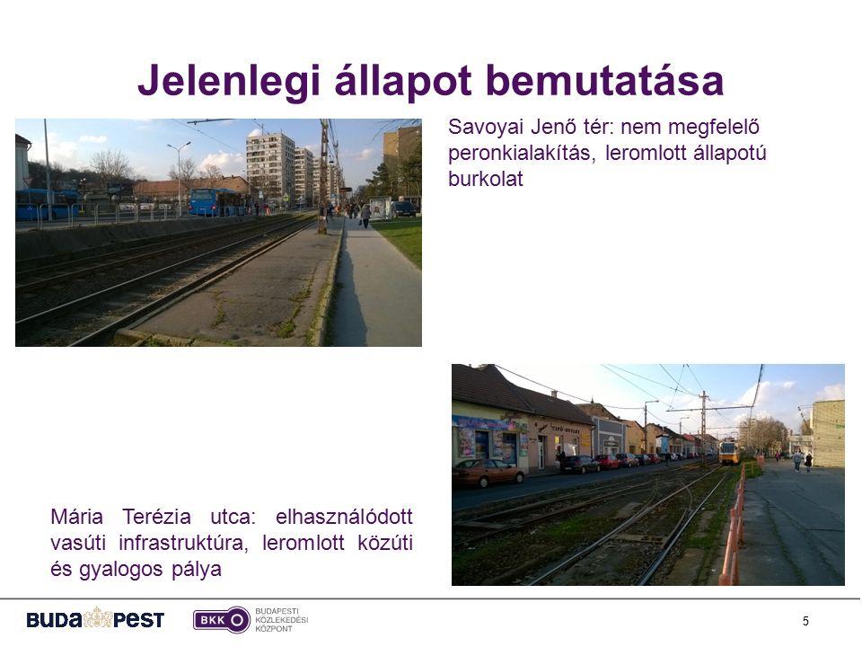 5 Mária Terézia utca: elhasználódott vasúti infrastruktúra, leromlott közúti és gyalogos pálya Savoyai Jenő tér: nem megfelelő peronkialakítás, leromlott állapotú burkolat