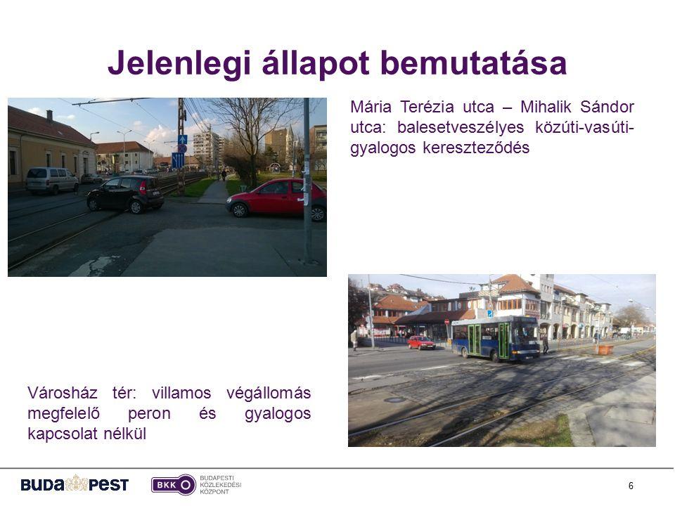 6 Jelenlegi állapot bemutatása Mária Terézia utca – Mihalik Sándor utca: balesetveszélyes közúti-vasúti- gyalogos kereszteződés Városház tér: villamos végállomás megfelelő peron és gyalogos kapcsolat nélkül