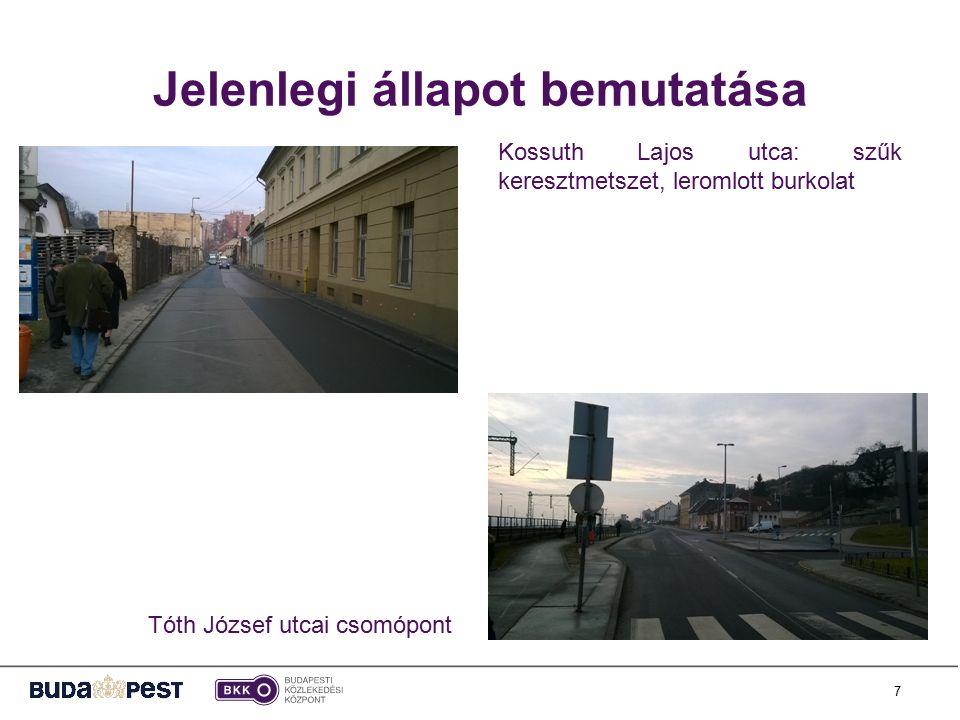 7 Jelenlegi állapot bemutatása Kossuth Lajos utca: szűk keresztmetszet, leromlott burkolat Tóth József utcai csomópont