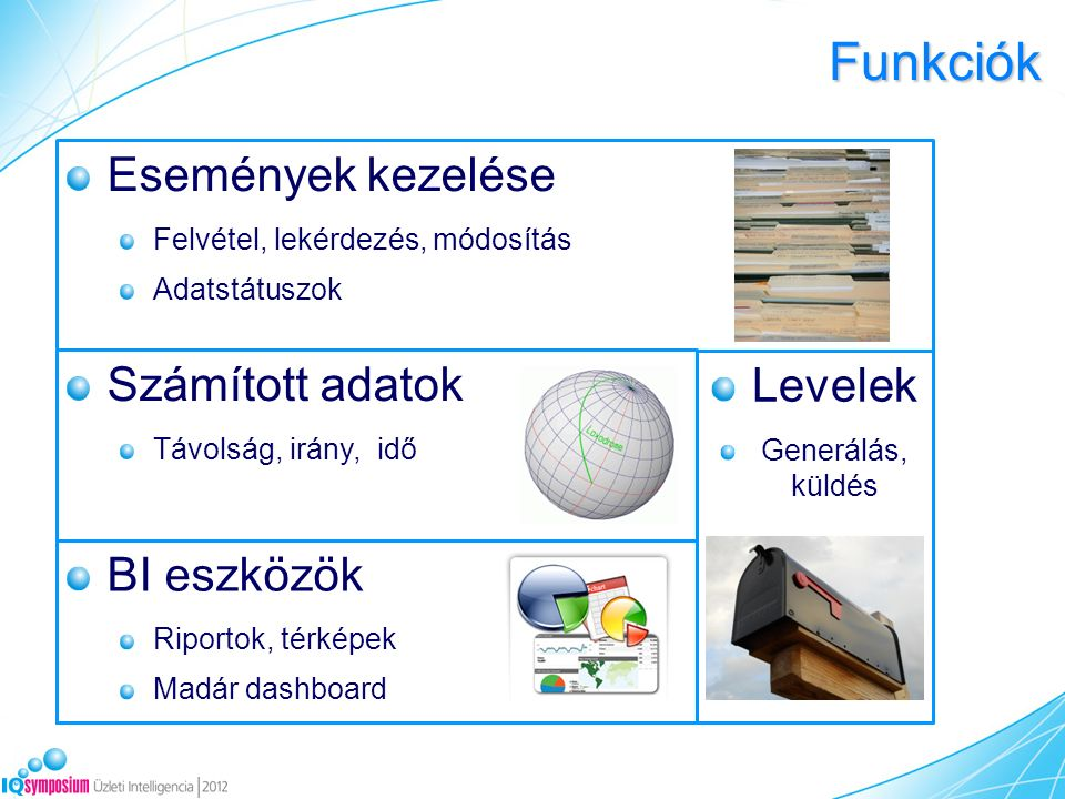 Funkciók BI eszközök Riportok, térképek Madár dashboard Események kezelése Felvétel, lekérdezés, módosítás Adatstátuszok Számított adatok Távolság, irány, idő Levelek Generálás, küldés