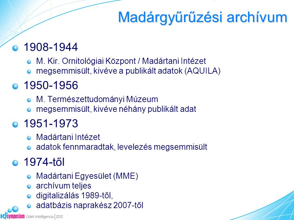 Madárgyűrűzési archívum 1908-1944 M. Kir. Ornitológiai Központ / Madártani Intézet megsemmisült, kivéve a publikált adatok (AQUILA) 1950-1956 M. Termé