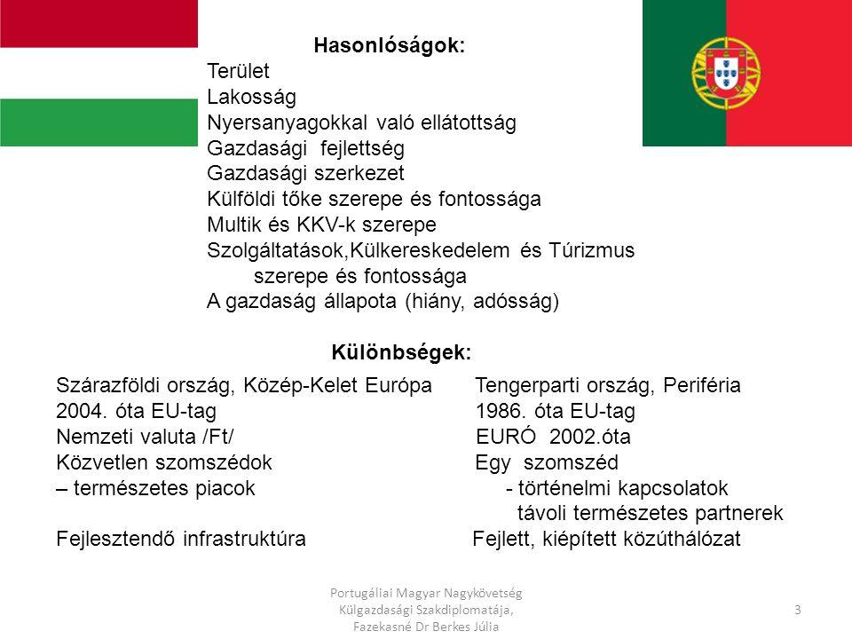 Hasonlóságok: Terület Lakosság Nyersanyagokkal való ellátottság Gazdasági fejlettség Gazdasági szerkezet Külföldi tőke szerepe és fontossága Multik és KKV-k szerepe Szolgáltatások,Külkereskedelem és Túrizmus szerepe és fontossága A gazdaság állapota (hiány, adósság) Különbségek: Szárazföldi ország, Közép-Kelet Európa Tengerparti ország, Periféria 2004.