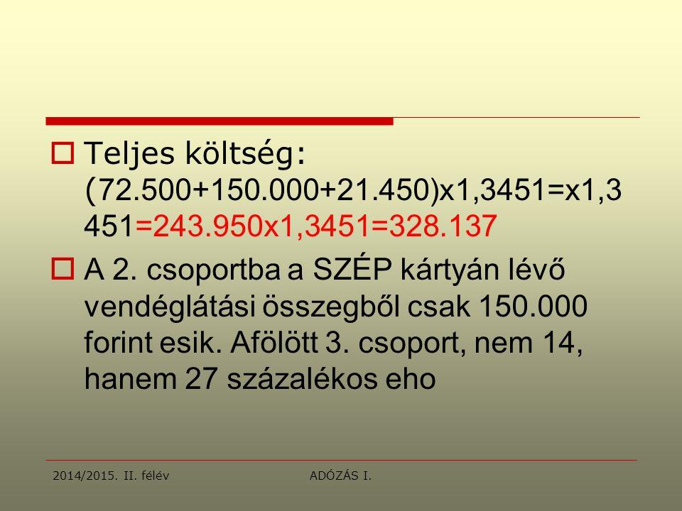  Teljes költség: ( 72.500+150.000+21.450)x1,3451=x1,3 451=243.950x1,3451=328.137  A 2.
