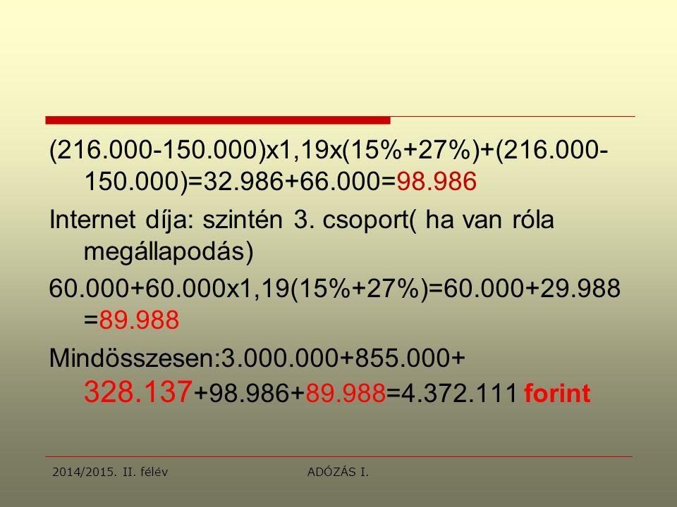 (216.000-150.000)x1,19x(15%+27%)+(216.000- 150.000)=32.986+66.000=98.986 Internet díja: szintén 3.