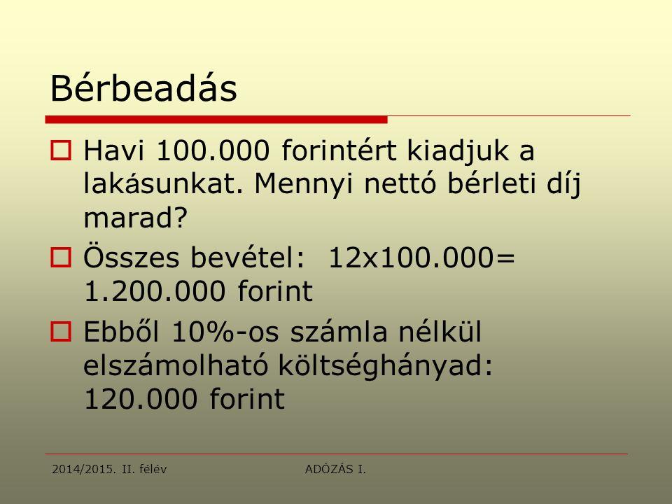 Bérbeadás  Havi 100.000 forintért kiadjuk a lak á sunkat.