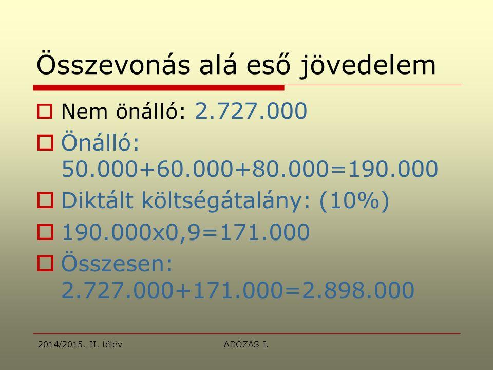 Összevonás alá eső jövedelem  Nem önálló: 2.727.000  Önálló: 50.000+60.000+80.000=190.000  Diktált költségátalány: (10%)  190.000x0,9=171.000  Összesen: 2.727.000+171.000=2.898.000 2014/2015.