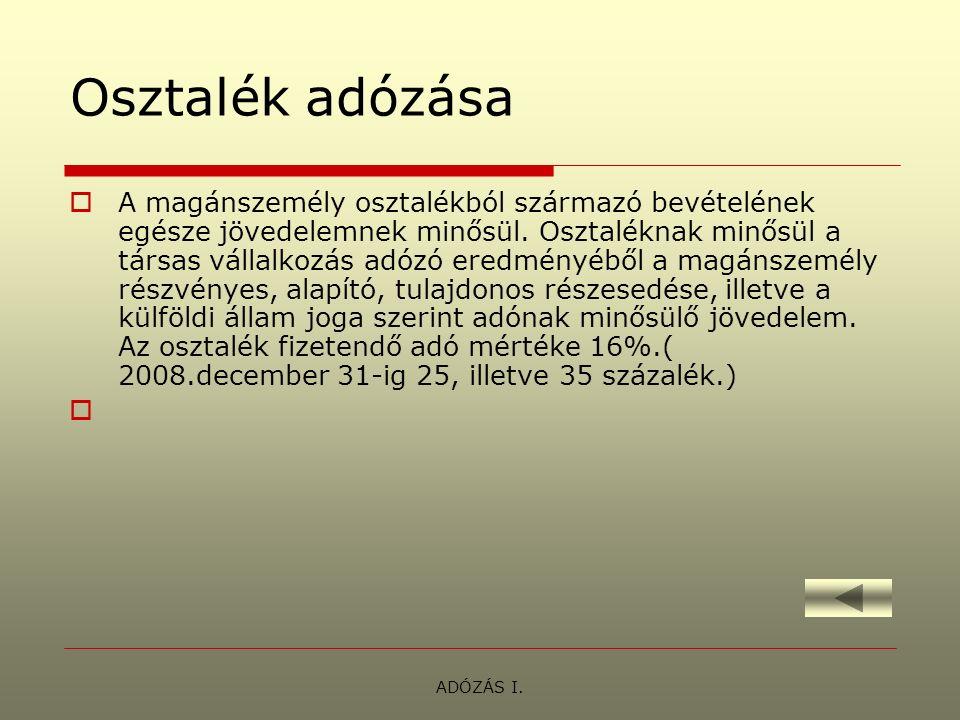 ADÓZÁS I.