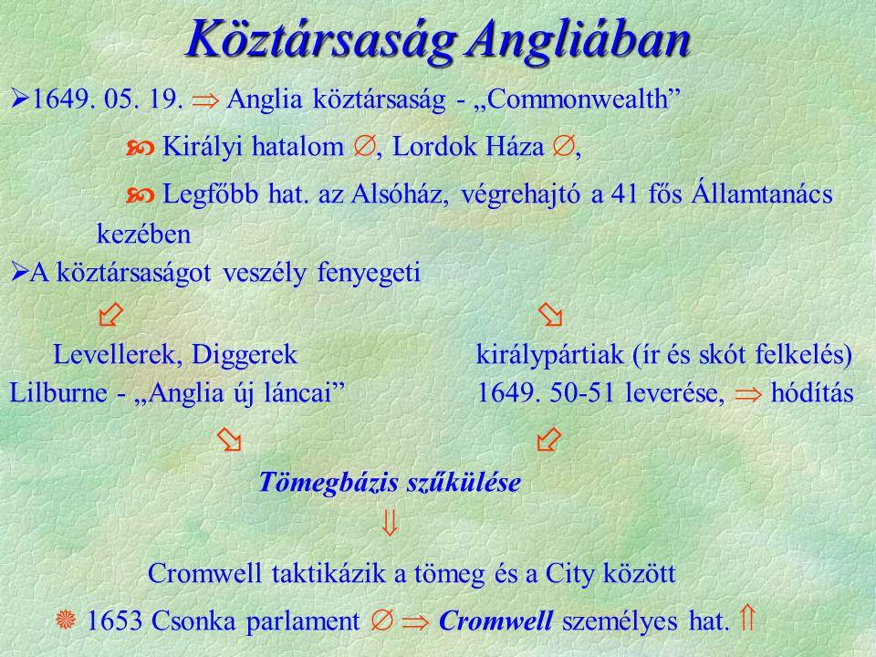 """ 1649. 05. 19.  Anglia köztársaság - """"Commonwealth""""  Királyi hatalom , Lordok Háza ,  Legfőbb hat. az Alsóház, végrehajtó a 41 fős Államtanács k"""