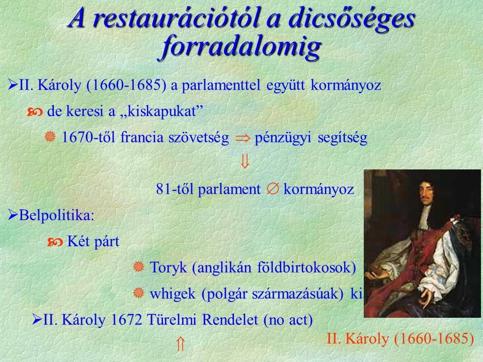A restaurációtól a dicsőséges forradalomig  II.