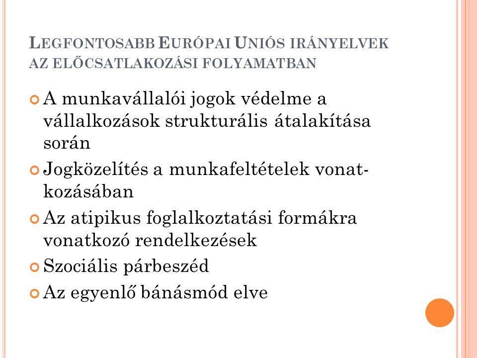 L EGFONTOSABB E URÓPAI U NIÓS IRÁNYELVEK AZ ELŐCSATLAKOZÁSI FOLYAMATBAN A munkavállalói jogok védelme a vállalkozások strukturális átalakítása során Jogközelítés a munkafeltételek vonat- kozásában Az atipikus foglalkoztatási formákra vonatkozó rendelkezések Szociális párbeszéd Az egyenlő bánásmód elve