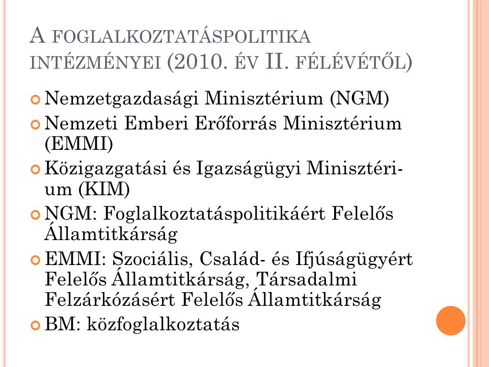 A FOGLALKOZTATÁSPOLITIKA INTÉZMÉNYEI (2010. ÉV II.