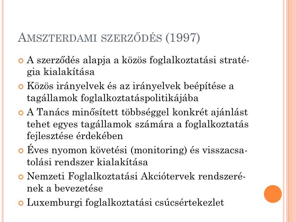 A MSZTERDAMI SZERZŐDÉS (1997) A szerződés alapja a közös foglalkoztatási straté- gia kialakítása Közös irányelvek és az irányelvek beépítése a tagállamok foglalkoztatáspolitikájába A Tanács minősített többséggel konkrét ajánlást tehet egyes tagállamok számára a foglalkoztatás fejlesztése érdekében Éves nyomon követési (monitoring) és visszacsa- tolási rendszer kialakítása Nemzeti Foglalkoztatási Akciótervek rendszeré- nek a bevezetése Luxemburgi foglalkoztatási csúcsértekezlet